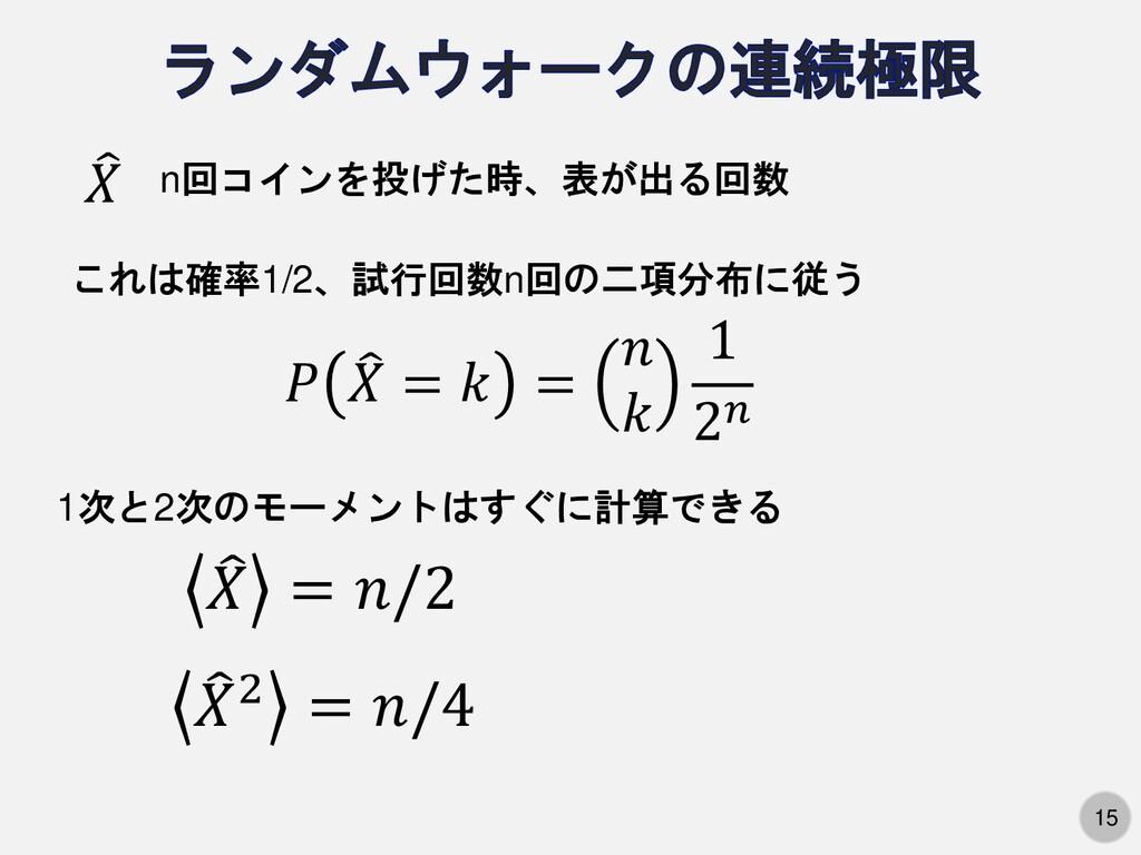 15 n回コインを投げた時、表が出る回数  𝑋 𝑃  𝑋 = 𝑘 = 𝑛 𝑘 1 2𝑛 こ...