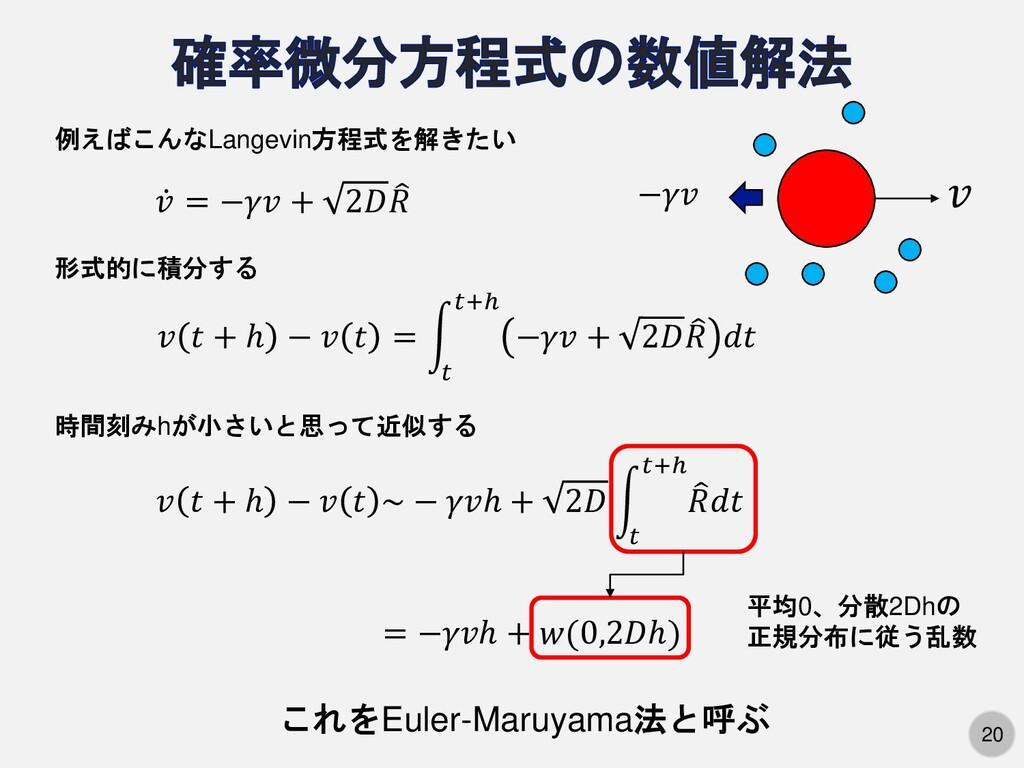 20 例えばこんなLangevin方程式を解きたい ሶ 𝑣 = −𝛾𝑣 + 2𝐷  𝑅 形式...