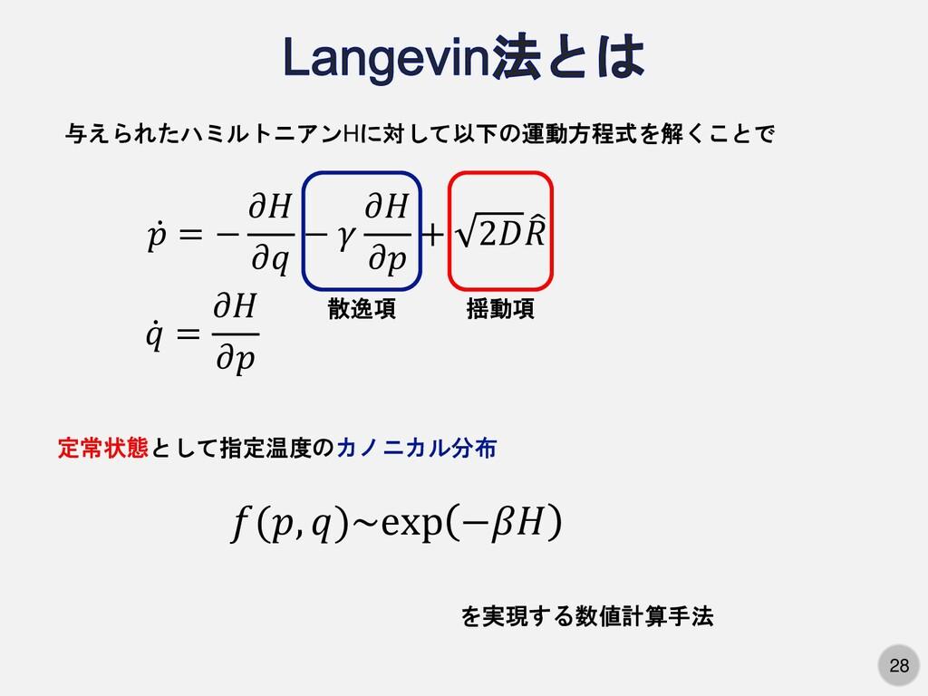 28 ሶ 𝑝 = − 𝜕𝐻 𝜕𝑞 − 𝛾 𝜕𝐻 𝜕𝑝 + 2𝐷  𝑅 ሶ 𝑞 = 𝜕𝐻 𝜕𝑝...