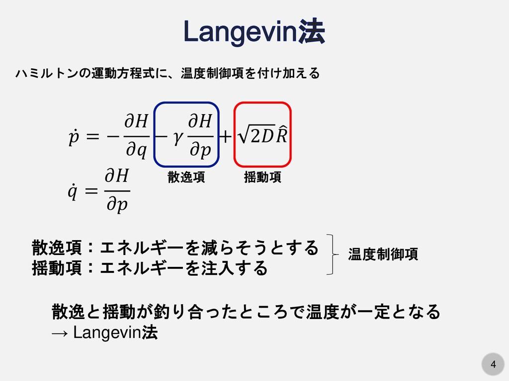 4 ハミルトンの運動方程式に、温度制御項を付け加える ሶ 𝑝 = − 𝜕𝐻 𝜕𝑞 − 𝛾 𝜕𝐻...