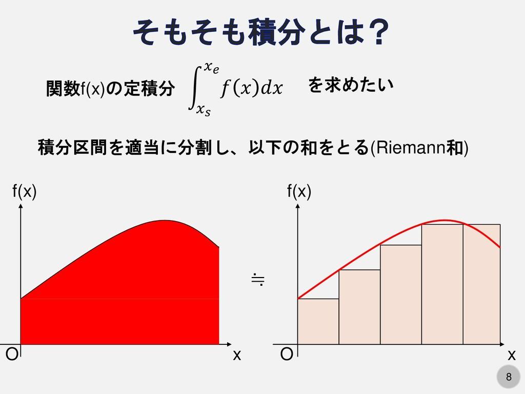 8 積分区間を適当に分割し、以下の和をとる(Riemann和) න 𝑥𝑠 𝑥𝑒 𝑓 𝑥 𝑑𝑥 ...