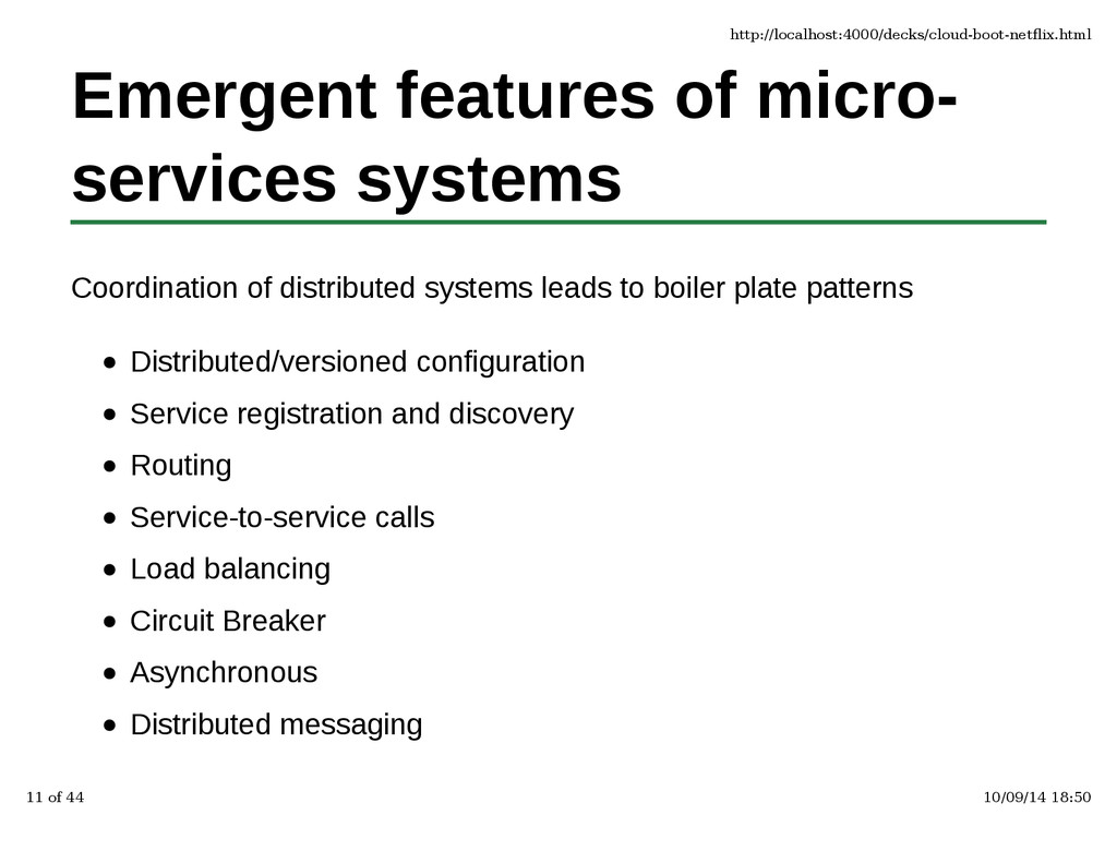 Emergent features of micro- services systems Co...