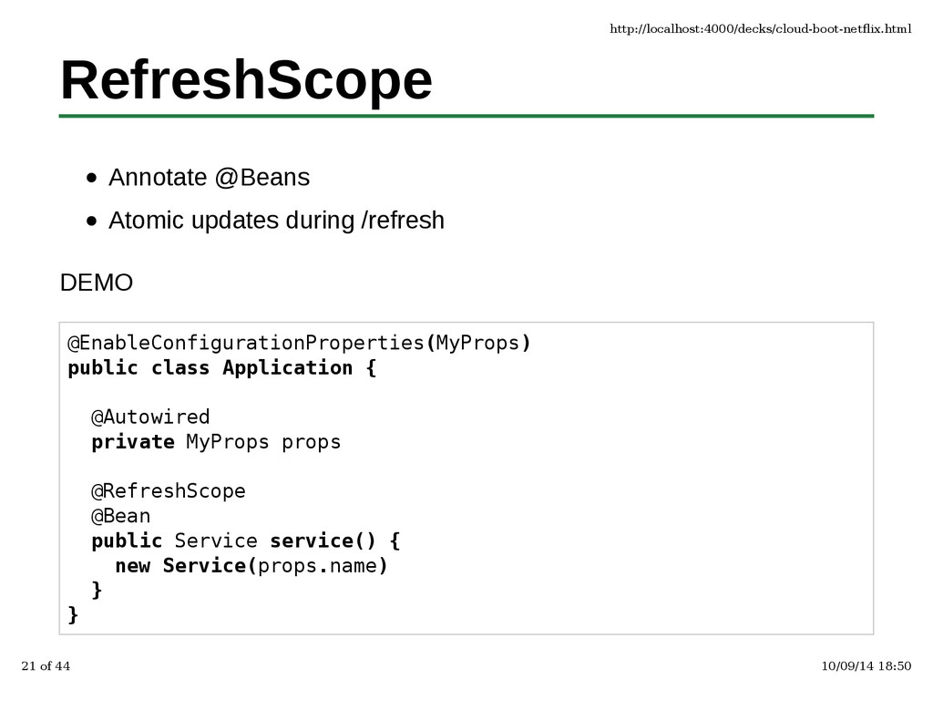 RefreshScope Annotate @Beans Atomic updates dur...