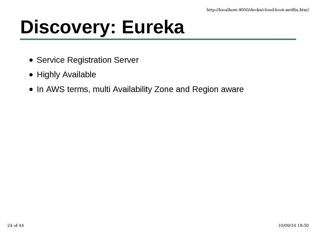 Discovery: Eureka Service Registration Server H...