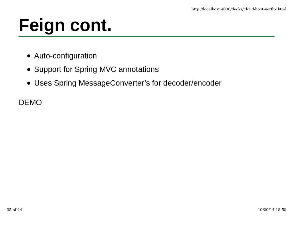 Feign cont. Auto-configuration Support for Spri...
