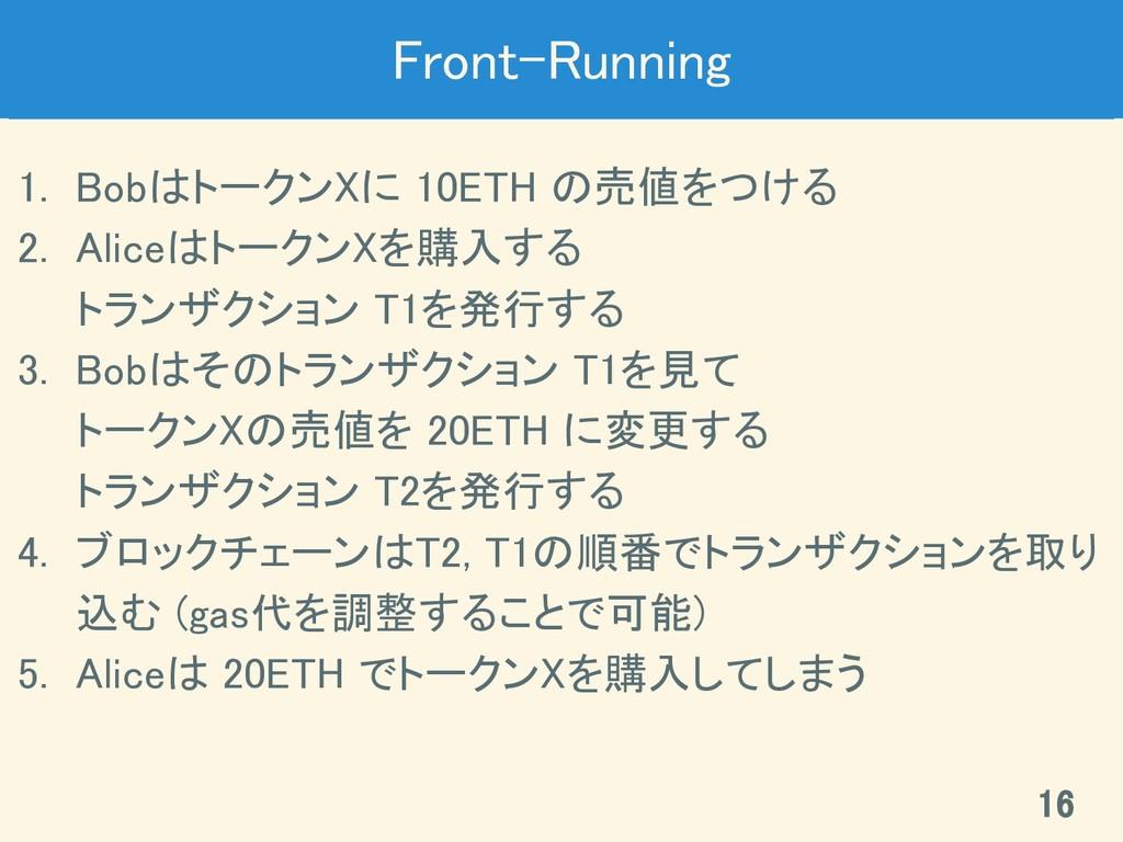Front-Running 1. BobはトークンXに 10ETH の売値をつける 2. ...