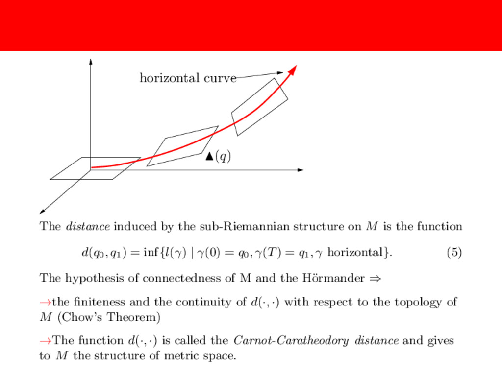 horizontal curve (q) The distance induced by th...