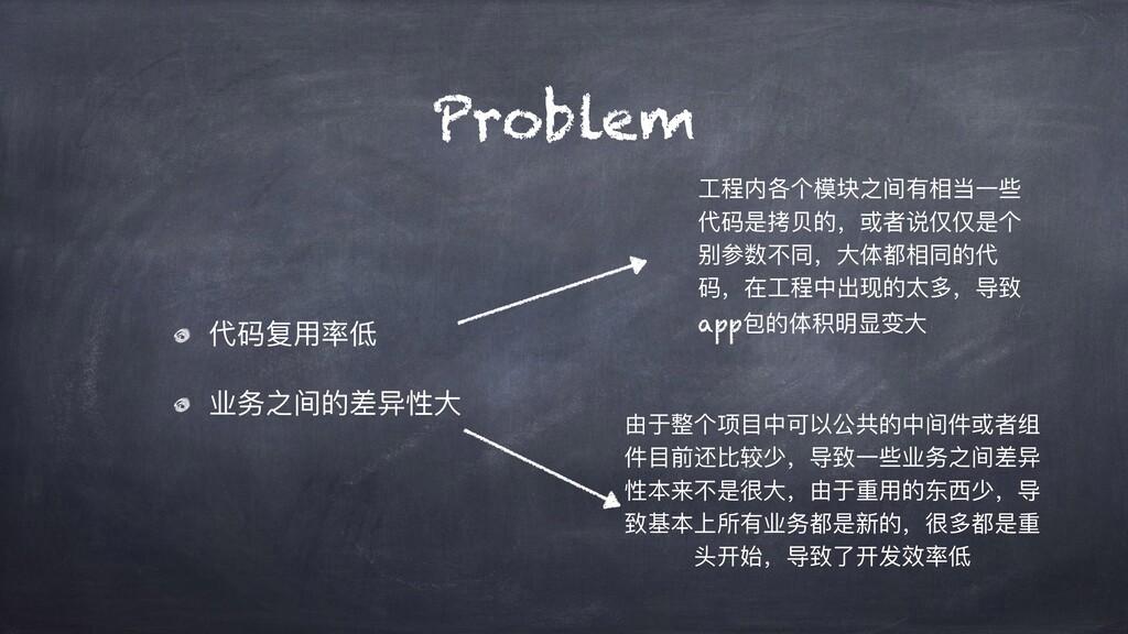 Problem 代码复⽤率低 业务之间的差异性⼤ ⼯程内各个模块之间有相当⼀些 代码是拷⻉的,...