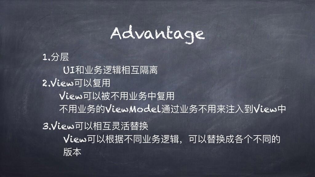 Advantage 1.分层 UI和业务逻辑相互隔离 2.View可以复⽤ View可以被不⽤...