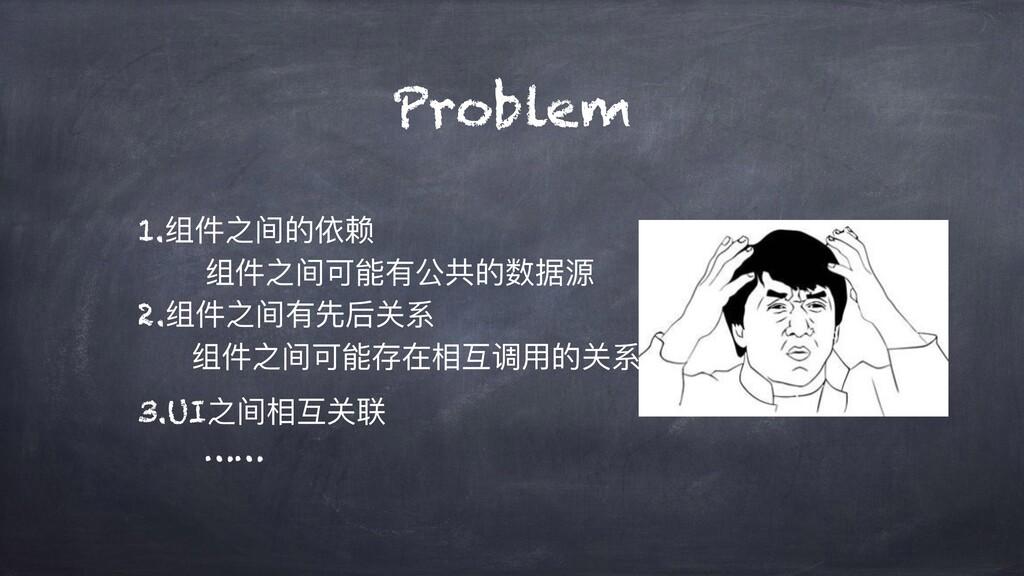 Problem 1.组件之间的依赖 组件之间可能有公共的数据源 2.组件之间有先后关系 组件之...
