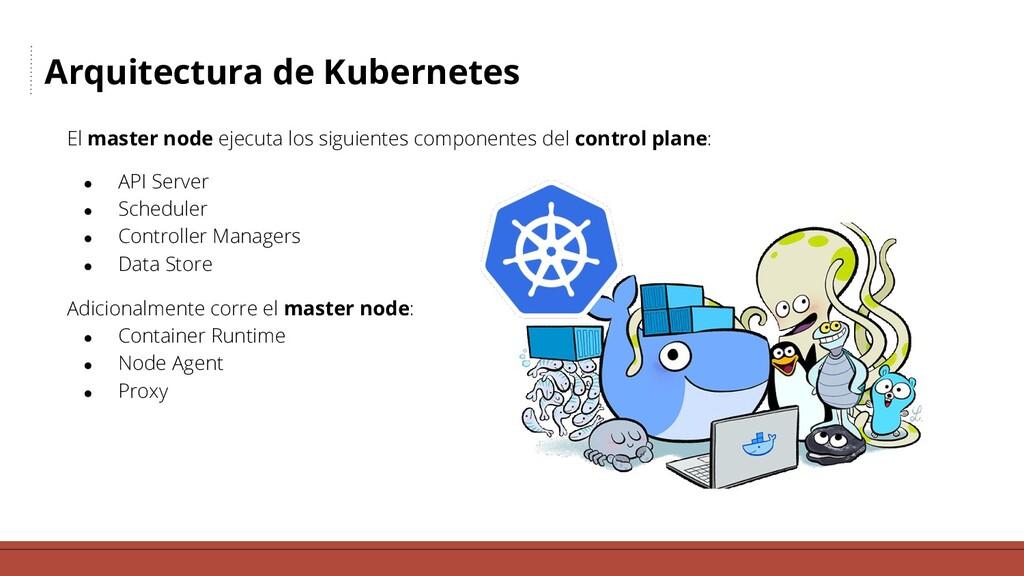 Arquitectura de Kubernetes El master node ejecu...