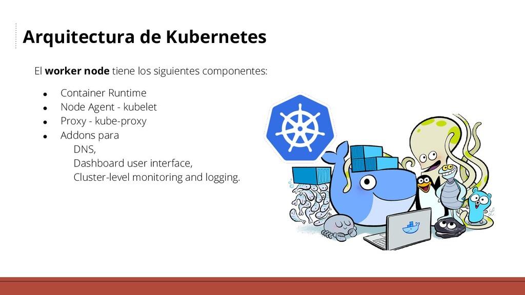 Arquitectura de Kubernetes El worker node tiene...