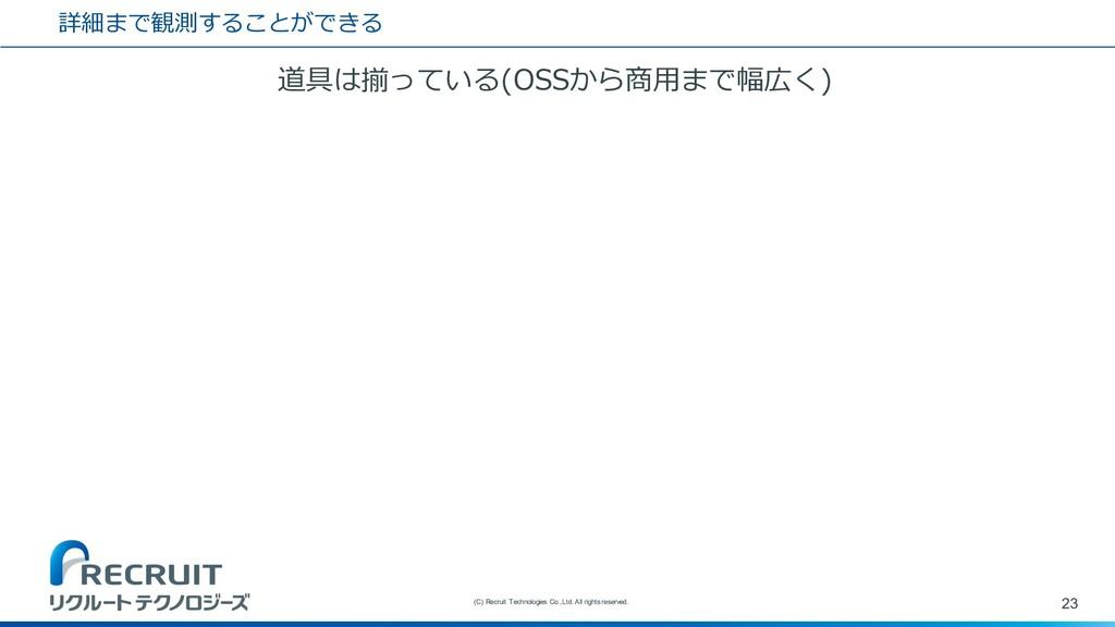 詳細まで観測することができる 道具は揃っている(OSSから商⽤まで幅広く) 23 (C) Re...