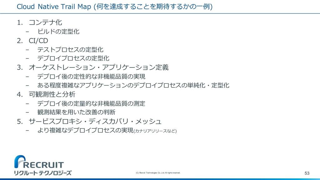 Cloud Native Trail Map (何を達成することを期待するかの⼀例) 1. コ...