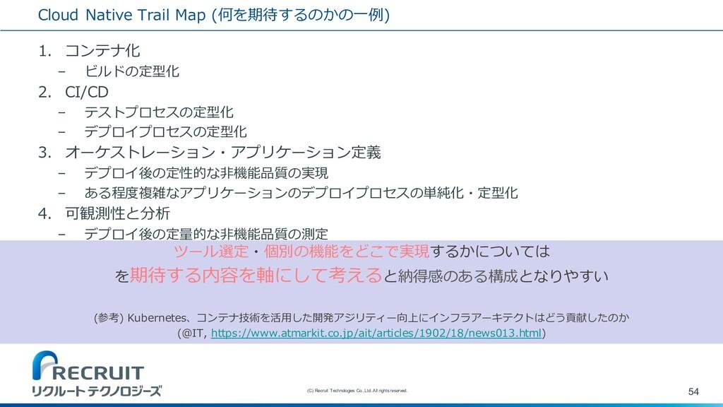 Cloud Native Trail Map (何を期待するのかの⼀例) 1. コンテナ化 –...