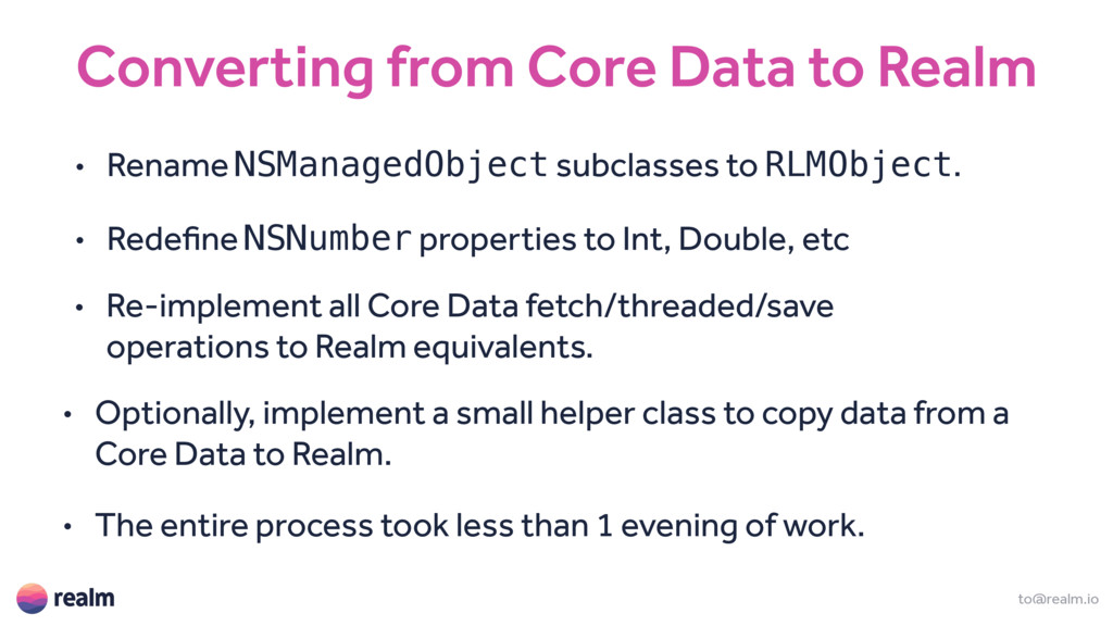 Converting from Core Data to Realm to@realm.io ...