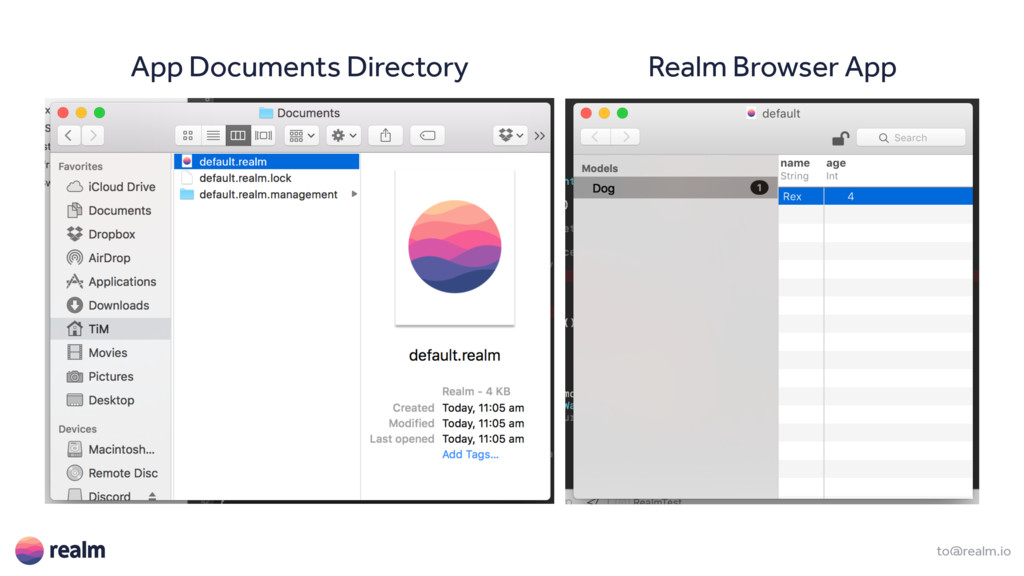 to@realm.io App Documents Directory Realm Brows...