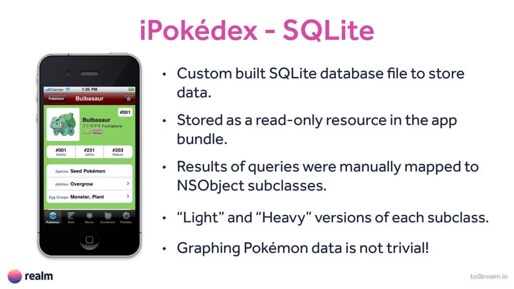 iPokédex - SQLite to@realm.io • Custom built SQ...
