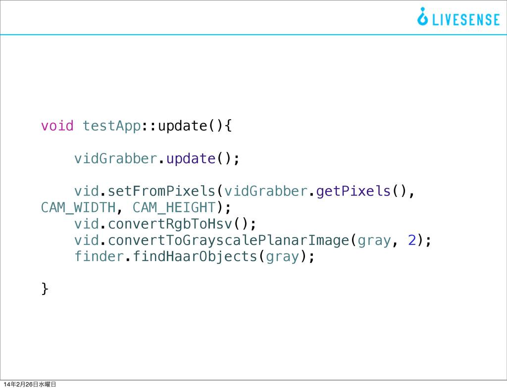 void testApp::update(){ vidGrabber.update(); vi...