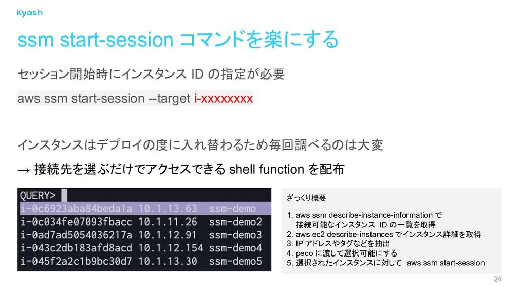 24 ssm start-session コマンドを楽にする セッション開始時にインスタンス ...