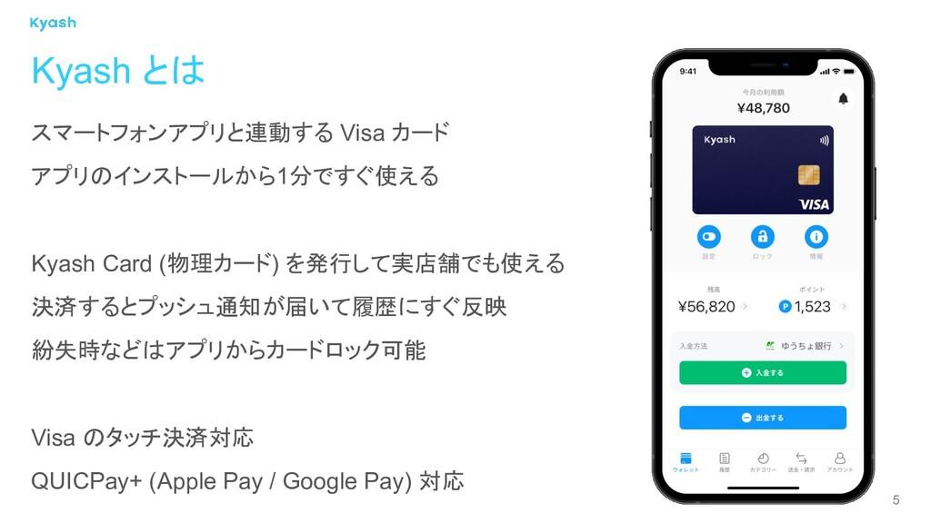 5 スマートフォンアプリと連動する Visa カード アプリのインストールから1分ですぐ使える...