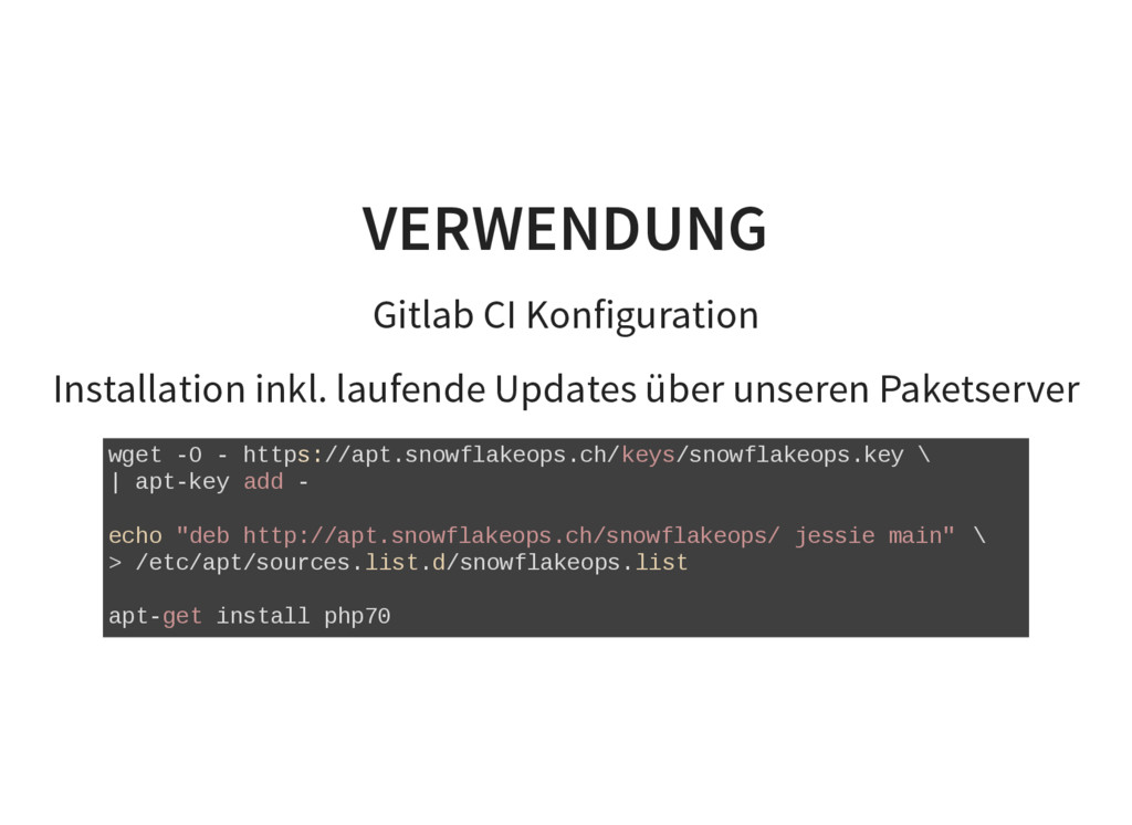 VERWENDUNG Gitlab CI Konfiguration Installation...