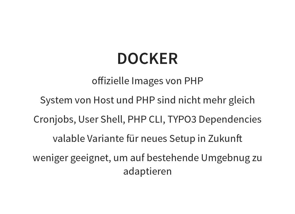 DOCKER offizielle Images von PHP System von Host...