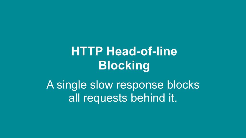 HTTP Head-of-line Blocking A single slow respon...