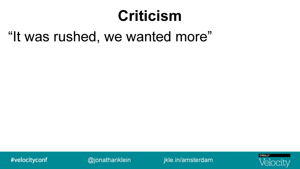 """Criticism """"It was rushed, we wanted more"""" @jona..."""