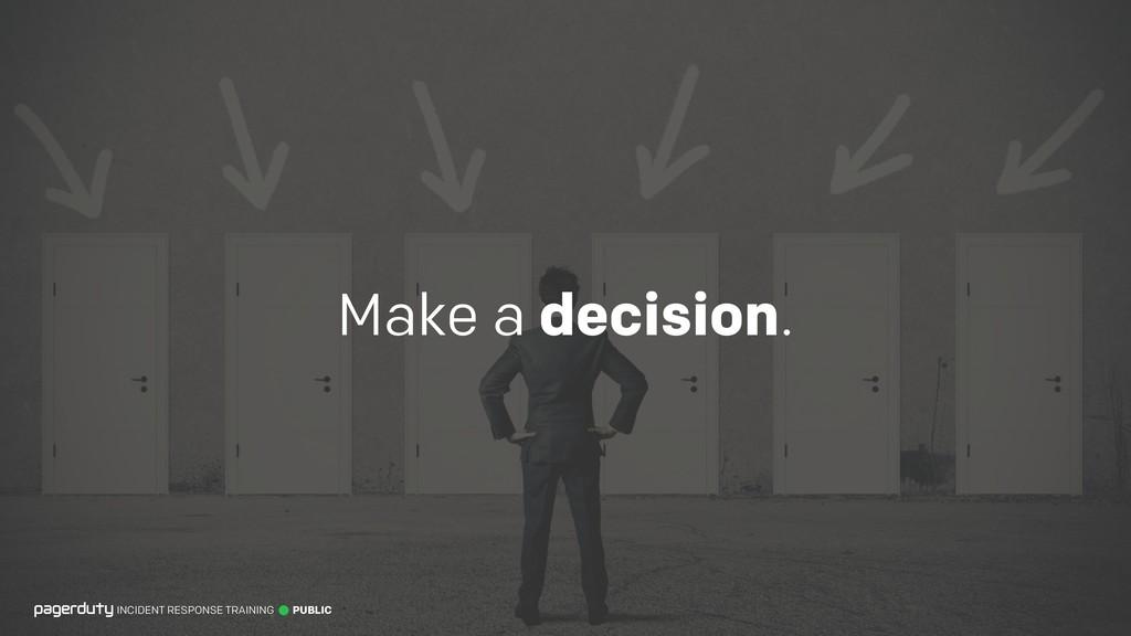 Make a decision. INCIDENT RESPONSE TRAINING PUB...