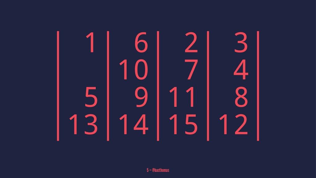 | 1| 6| 2| 3| | |10| 7| 4| | 5| 9|11| 8| |13|14...