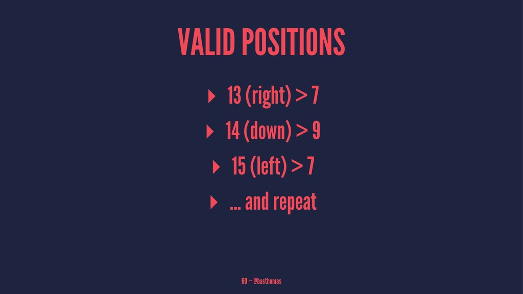 VALID POSITIONS ▸ 13 (right) > 7 ▸ 14 (down) > ...