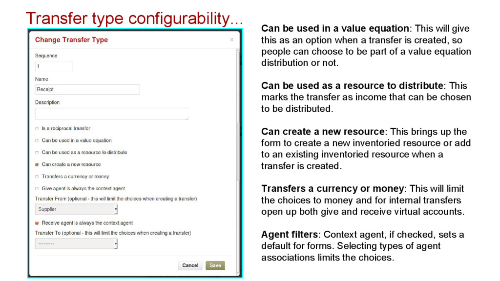 Transfer type configurability... Can be used in...