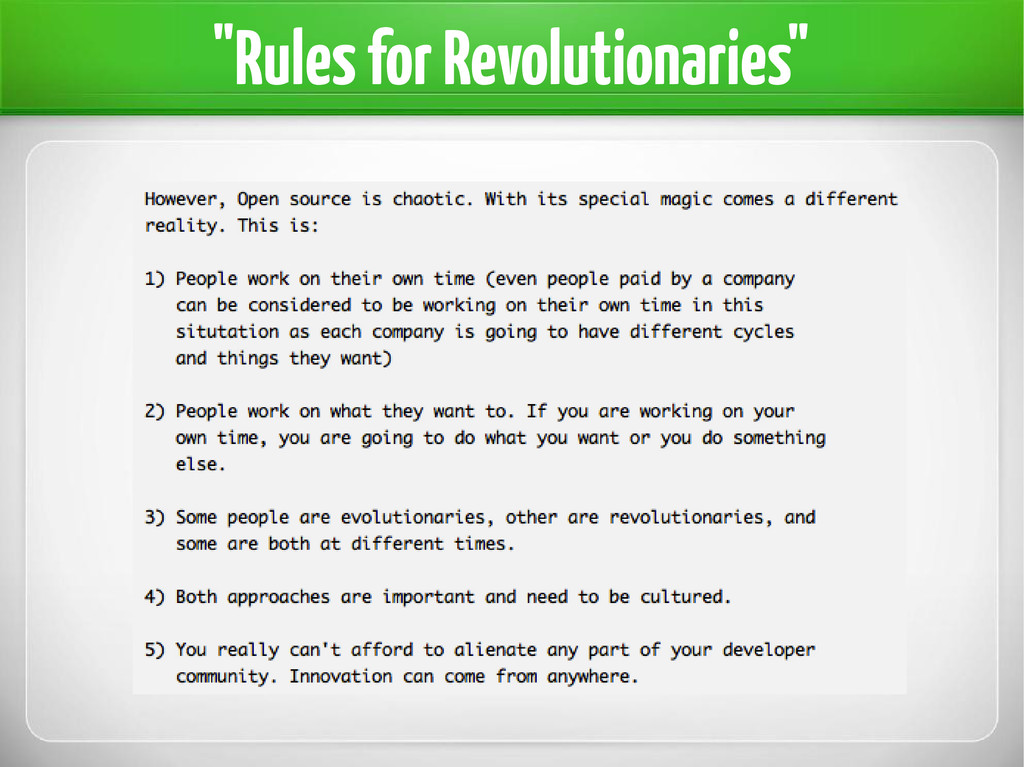 """Rules for Revolutionaries"""