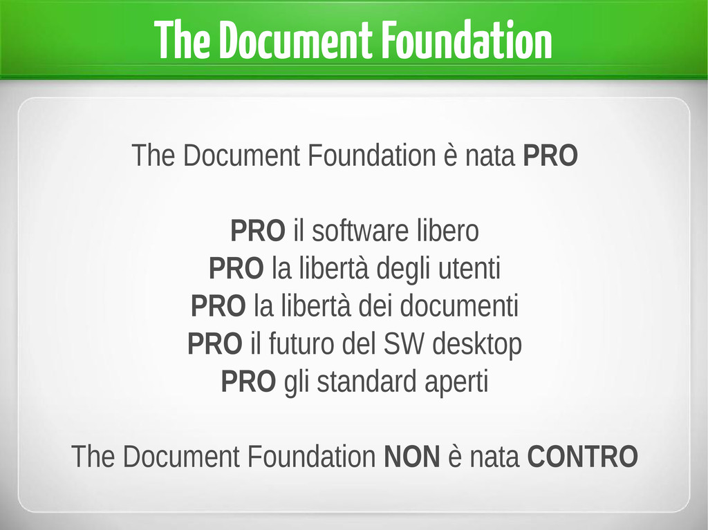 The Document Foundation è nata PRO PRO il softw...