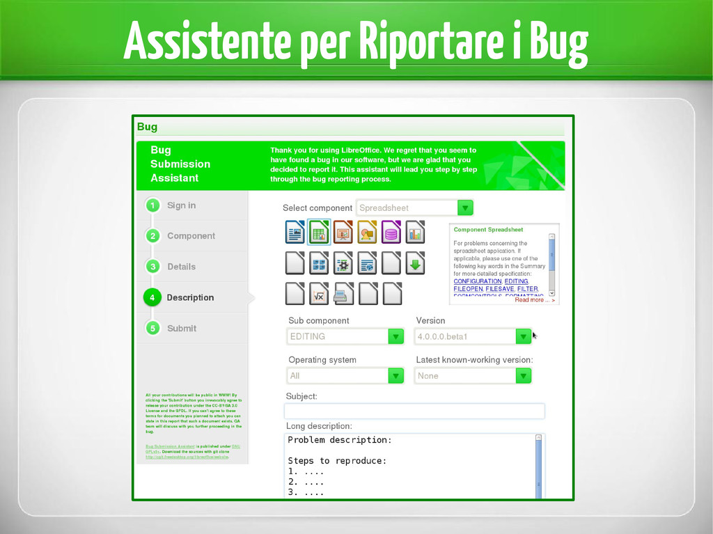Assistente per Riportare i Bug
