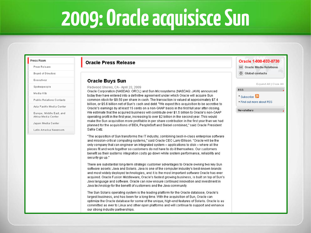 2009: Oracle acquisisce Sun