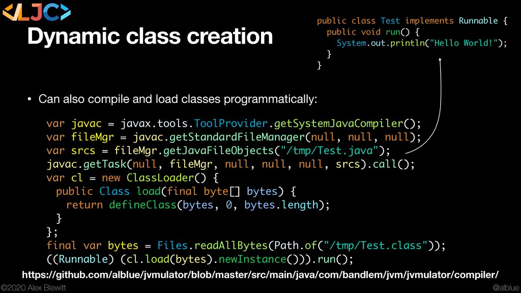 @alblue ©2020 Alex Blewitt Dynamic class creati...