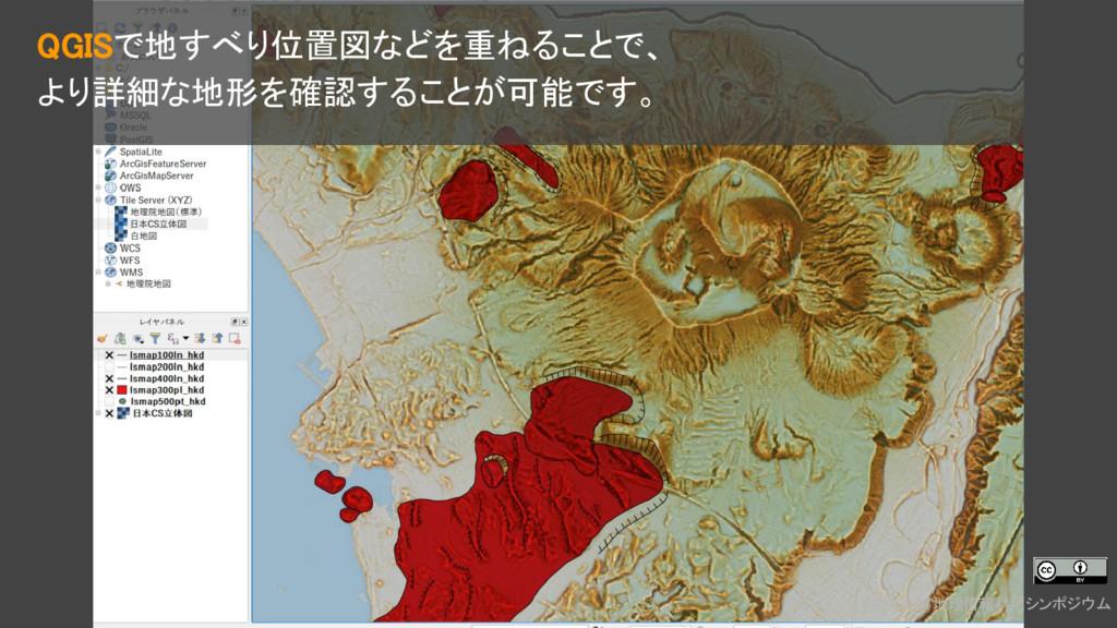 2018.1.17地理情報利用シンポジウム QGISで地すべり位置図などを重ねることで、 より...
