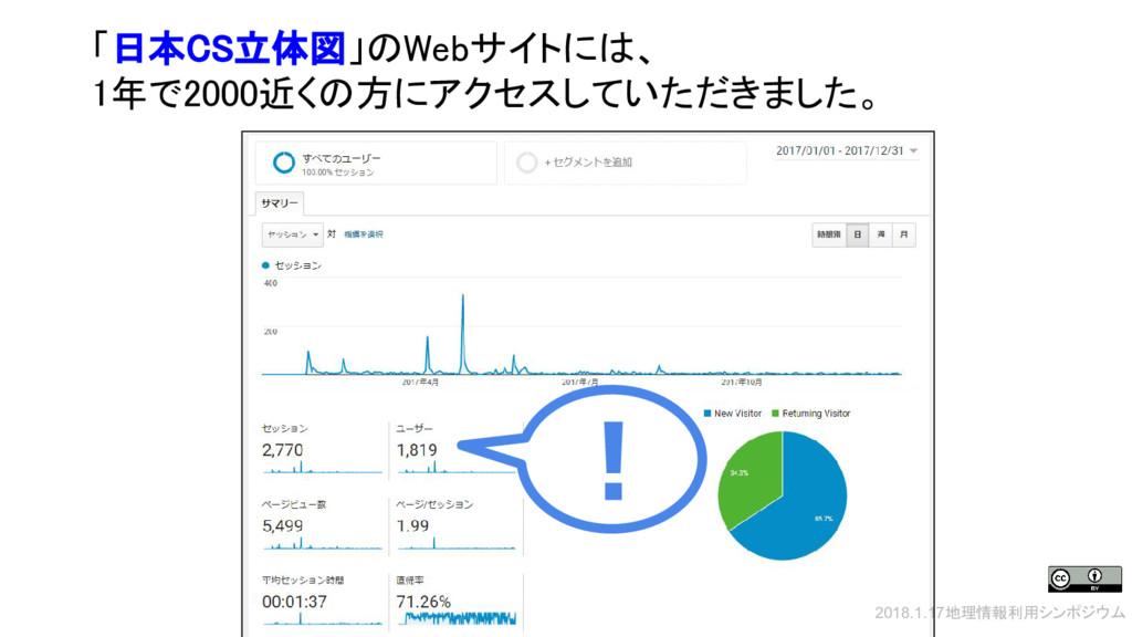 2018.1.17地理情報利用シンポジウム 「日本CS立体図」のWebサイトには、 1年で20...