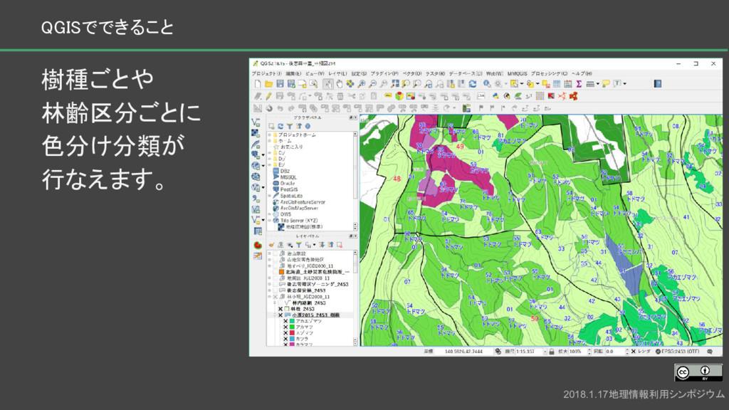 樹種ごとや 林齢区分ごとに 色分け分類が 行なえます。 2018.1.17地理情報利用シンポジ...