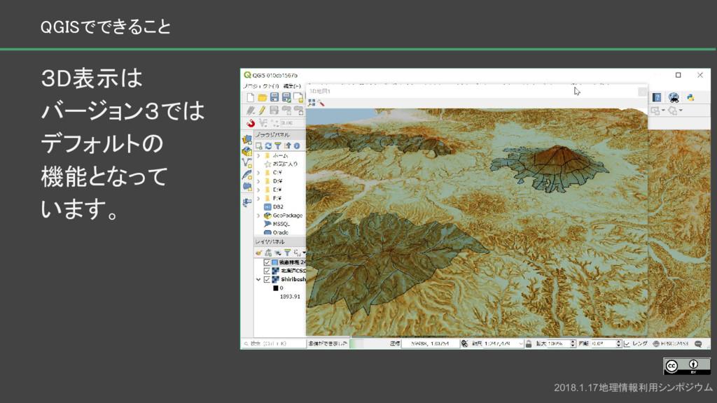 3D表示は バージョン3では デフォルトの 機能となって います。 2018.1.17地理情報...