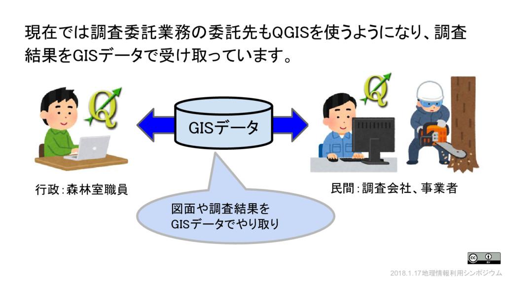 現在では調査委託業務の委託先もQGISを使うようになり、調査 結果をGISデータで受け取ってい...