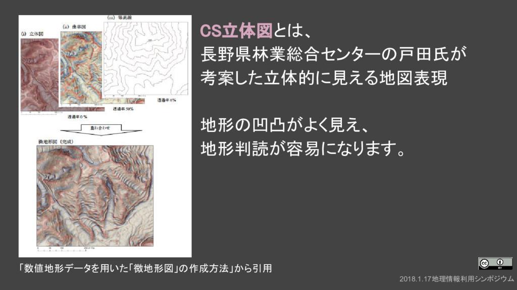 CS立体図とは、 長野県林業総合センターの戸田氏が 考案した立体的に見える地図表現 地形の凹凸...