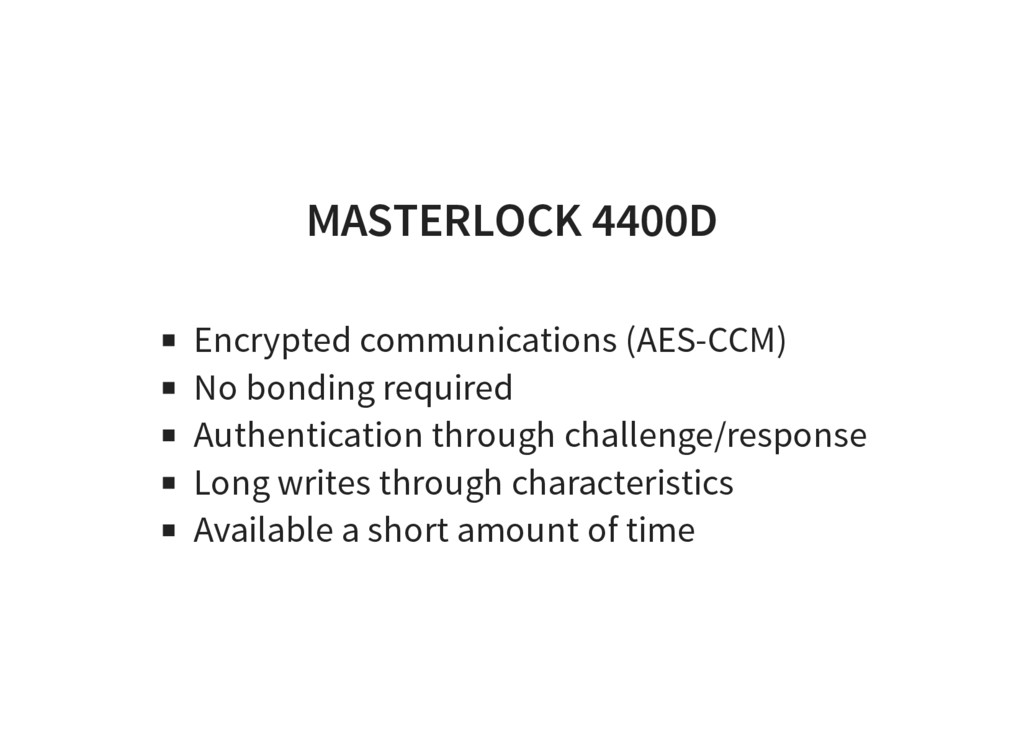 MASTERLOCK 4400D Encrypted communications (AES-...