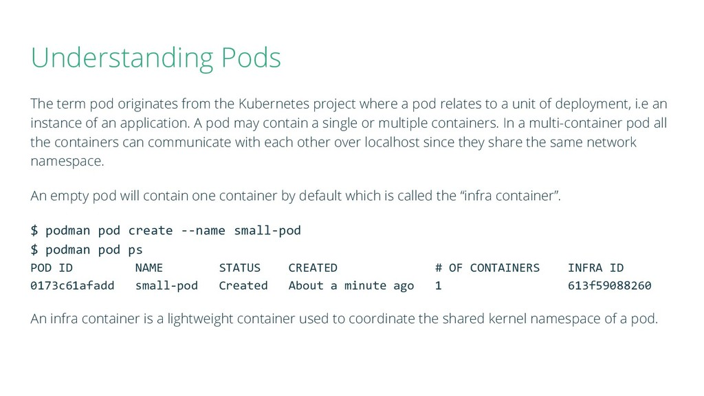 Understanding Pods The term pod originates from...