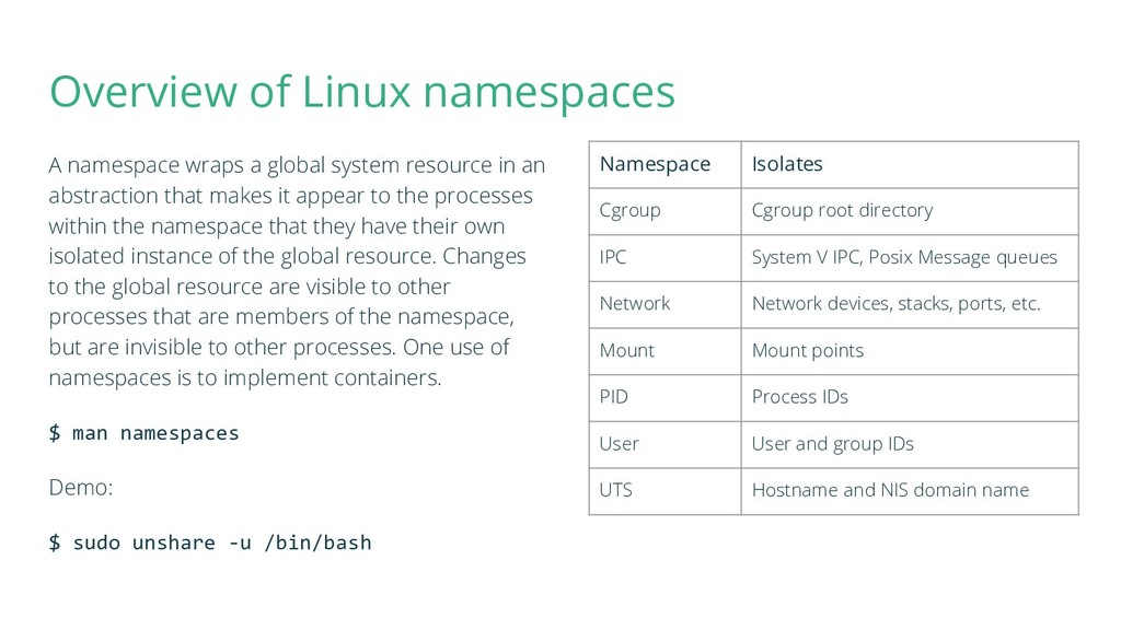 Overview of Linux namespaces A namespace wraps ...