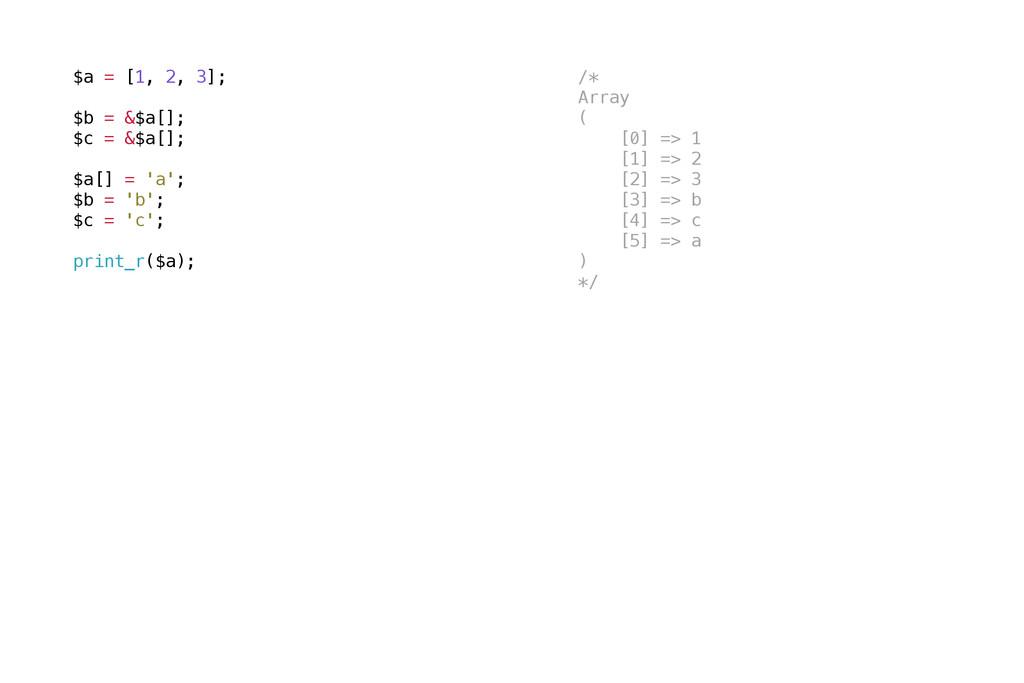 $a = [1, 2, 3]; $b = &$a[]; $c = &$a[]; $a[] = ...