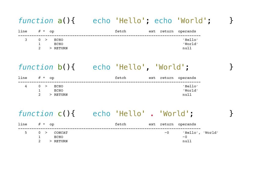 function a(){ echo 'Hello'; echo 'World'; } ! l...
