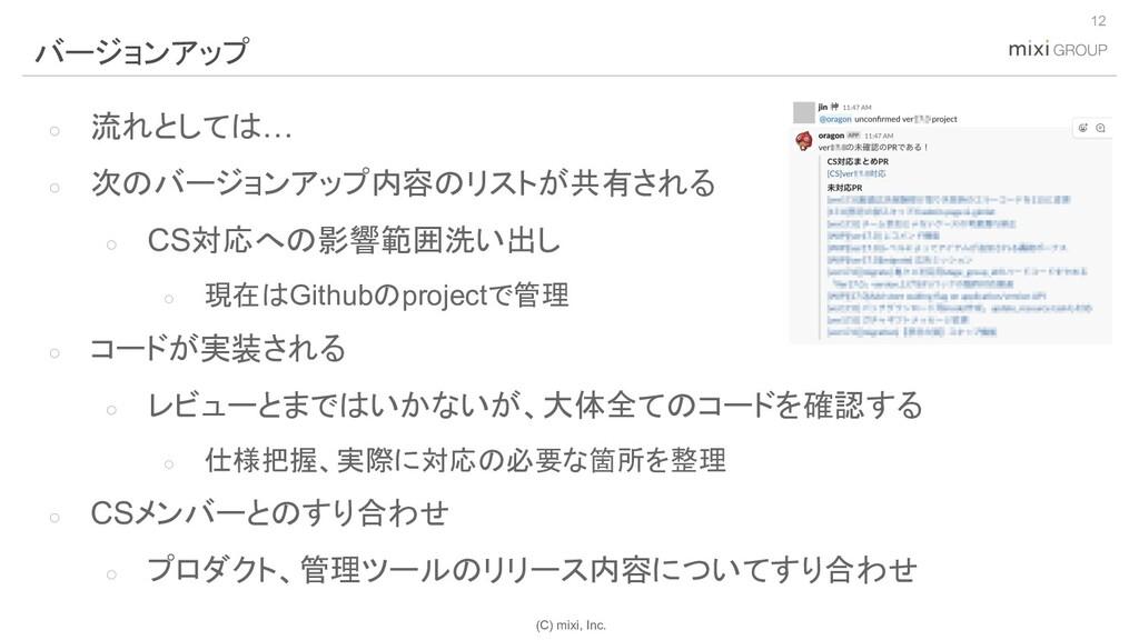 (C) mixi, Inc. ○ 流れとしては… ○ 次のバージョンアップ内容のリストが共有さ...